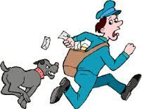 dessin chien qui course le facteur