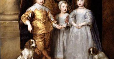 peinture d'enfants avec des Cavalier King Charles de l'époque au 17ème siecle