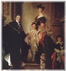 Peinture du Duc de Marlborough avec sa famille et leur cavalier king charles au 19ème siècle