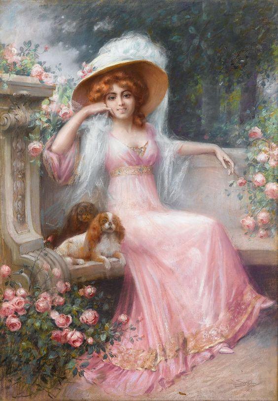 peinture d'une jeune femme bourgeoise et de ses 2 cavalier king charles au 19ème siècle dans un jardin