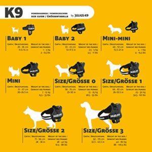 guide des tailles harnais julius-k9